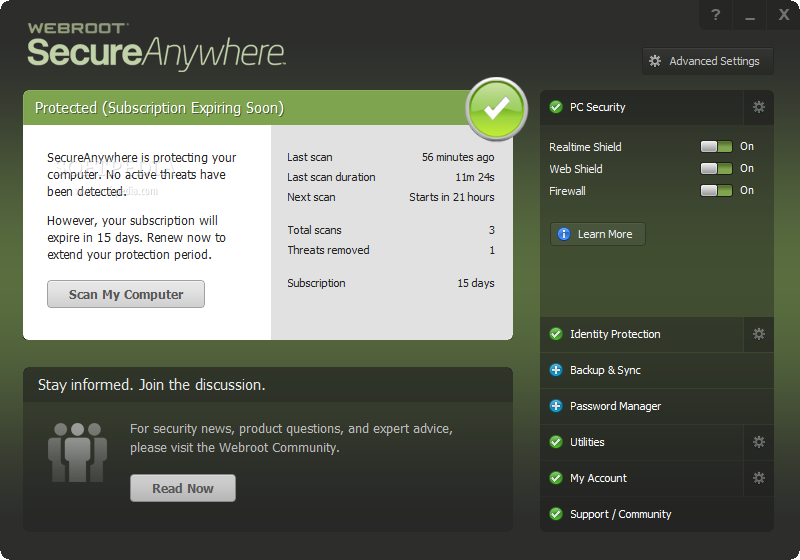 Webroot Antivirus support